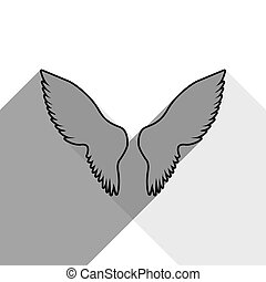 Wings sign illustration. Vector. Black icon with two flat gray shadows on white background.