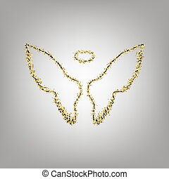 Wings sign illustration. Vector. Blackish icon with golden...