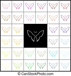 Wings sign illustration. Vector. Felt-pen 33 colorful icons at white and black backgrounds. Colorfull.