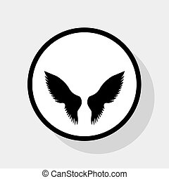 Wings sign illustration. Vector. Flat black icon in white circle with shadow at gray background.