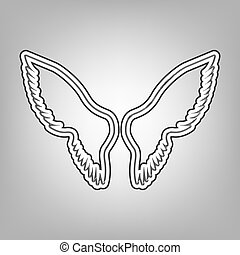 Wings sign illustration. Vector. Pencil sketch imitation. Dark gray scribble icon with dark gray outer contour at gray background.
