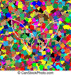 Wings sign illustration. Vector. White icon on colorful backgrou