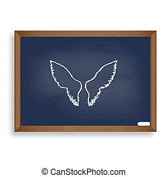 Wings sign illustration. White chalk icon on blue school board w
