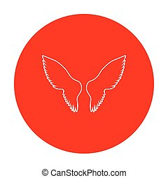Wings sign illustration. White icon on red circle.
