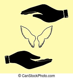 Save or protect symbol by hands. - Wings sign. Save or...