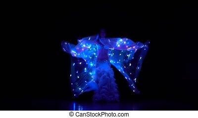 wings., sihouette, taniec, taniec, tło., jarzący się, orientalny, brzuch, czarnoskóry