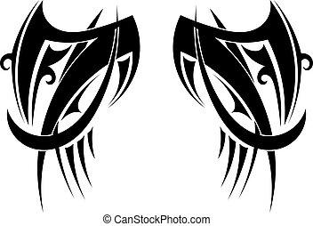 wings., tatuaggio, grafico, tribale, illustrazione, vettore