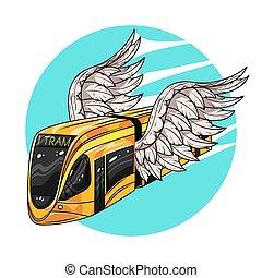 wings., transport., concetto, tram, moderno, web., illustrazione, mano, vettore, digiuno, disegnato, stampa