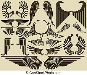 Wings tribal set - The vector image of set of wings in the ...