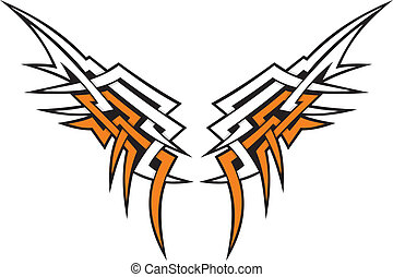 Tribal style wings icon tattoo in orange and white.