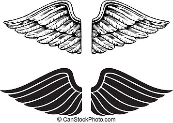 Illustration of wings in two types. One is a vintage style and the other is a graphic style.