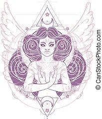 wings., voir, sur, américain, alchimie, vecteur, mystérieux...