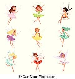 wings., wenig, aufkleber, bunte, fairies., postkarte, buch,...