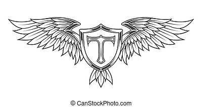 Wings with feathers and a shield. Heraldic emblem vintage...