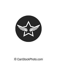 wings with star  logo symbol icon vector illustration