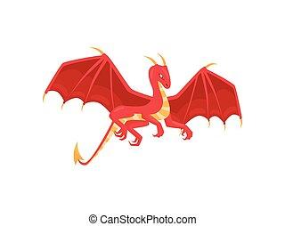 wings., wohnung, mythisch, breit, langer, feuerdrachen, schwanz, vektor, design, hörner, rgeöffnete, rotes , kreatur