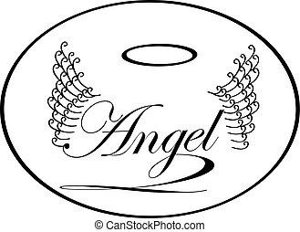 wings., woord, sketch., engel, ouderwetse , vrijstaand, illustratie, etiket, vector, achtergrond, lettering.