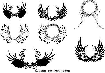 wingsl, satz, wreath., vier, schwarz, weißes