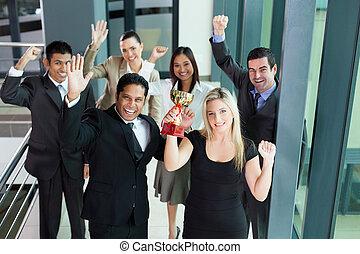 wining, trofeo, giovane, persone affari