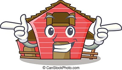 Wink a red barn house character cartoon