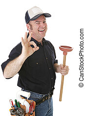 Wink and a Plunger - Plumber winking and giving the okay...
