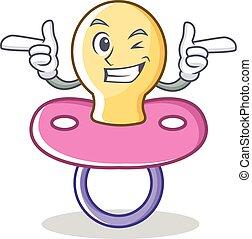 Wink baby pacifier character cartoon