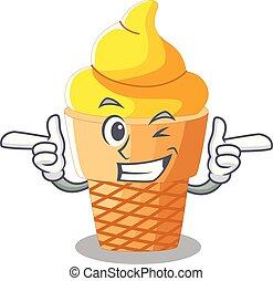 Wink banana ice cream isolated on mascot