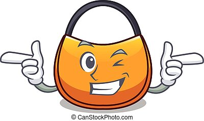 Wink beautifully hobo bag on character funny vector...