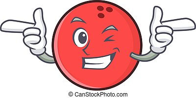 Wink bowling ball character cartoon