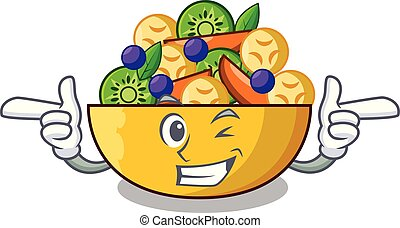 Wink cartoon bowl healthy fresh fruit salad