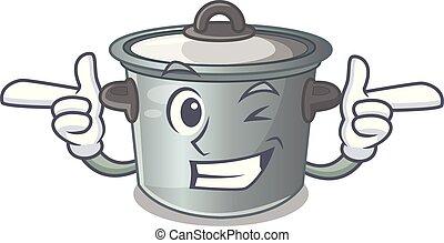 Wink cartoon cookware stock pot in kitchen vector...