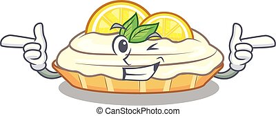 Wink cartoon lemon cake with lemon slice