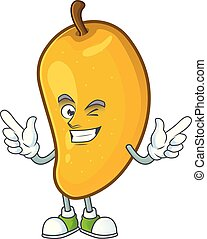 Wink cartoon of mango character on a white background.