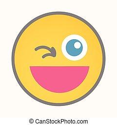 Wink - Cartoon Smiley Vector Face