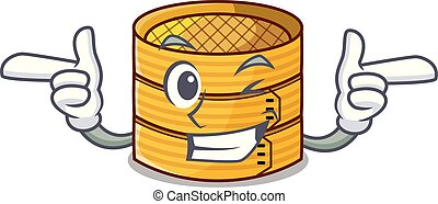 Wink cartoon traditional bamboo for steamed food