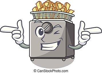 Wink character deep fryer on restaurant kitchen vector...
