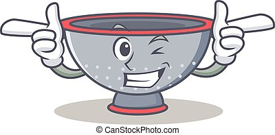 Wink colander utensil character cartoon vector illustration