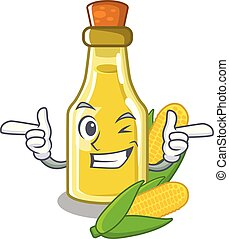 Wink corn oil put into cartoon bottle