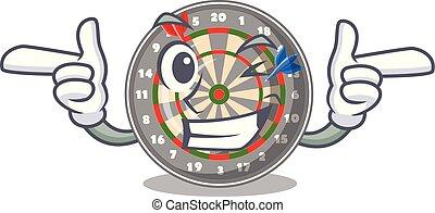Wink dartboard in the shape of mascot