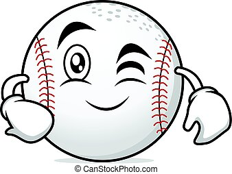 Wink face baseball cartoon character
