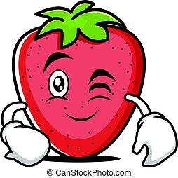 Wink face strawberry cartoon character