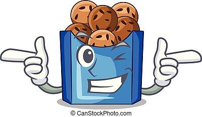 Wink falafel in fried on teflon cartoon vector illustration