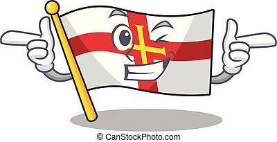 Wink flag guernsey with the cartoon shape vector illustration