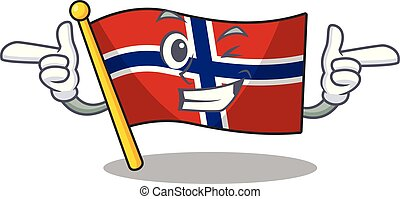Wink flag norway isolated in the mascot