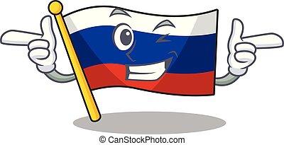 Wink flag russian stored in cartoon cupboard