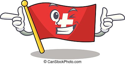 Wink flag switzerland isolated in the character