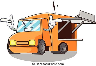 Wink Food Truck with Isolated on mascot