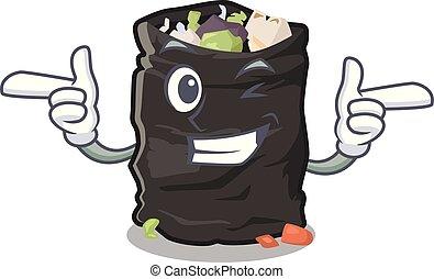 Wink garbage bag in the cartoon shape vector illustration