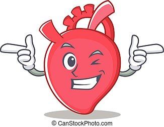 Wink heart character cartoon style