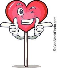 Wink heart lollipop character cartoon vector illustration